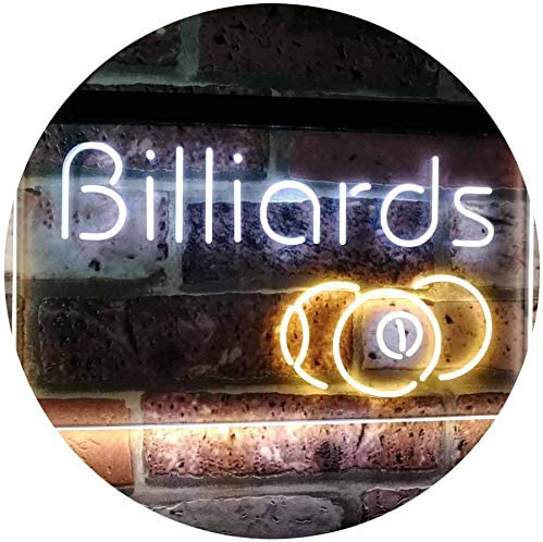 ADVPRO Billiards 9 Ball Game Room Pool Snooker Décor Man Cave Dual Color LED Neon Sign White & Yellow 12