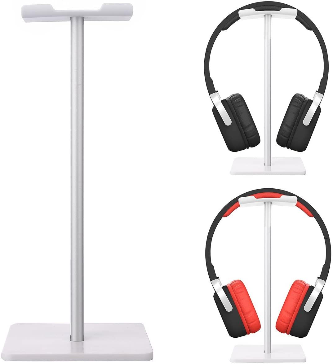 Headphone Stand Hanger Universal Earphone Holder Display Earbuds Mount Gaming Aluminum Headset Rack for Home Office Desk Table (White)