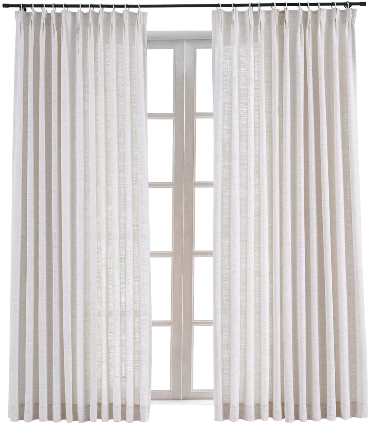 ChadMade Pinch Pleat Faux Linen Curtain Panel Room Darkening Drapery Sliding Glass Door Living Room,60 Wx84 L (1 Panel), Liz Collection