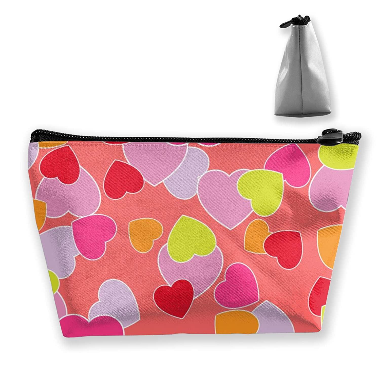 Multipurpose Cosmetic Train Case Premium Love Heart Patterns Zipper Handbag Organizer Large Capacity For Cosmetics Jewelry Travel