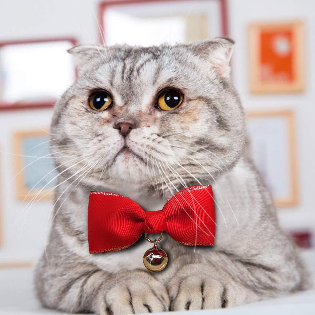 Kiar 2021 Christmas Pet Collar - Breakaway Cat Collars with Bell, Adjustable Pet Collar Santa Patterns for Kitten Cat Christmas Party