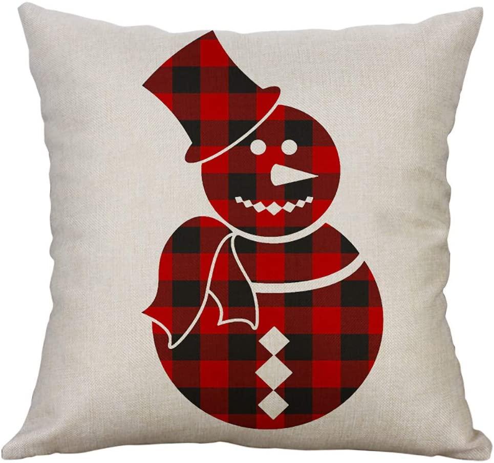 WOMENQAQ 18x18 Christmas Throw Pillow Cover Decorative Cotton Linen Pillowcase for Sofa Couch Home Decor Car Square Cushion Cover (Snowman, 45cmx45cm/18 x18)
