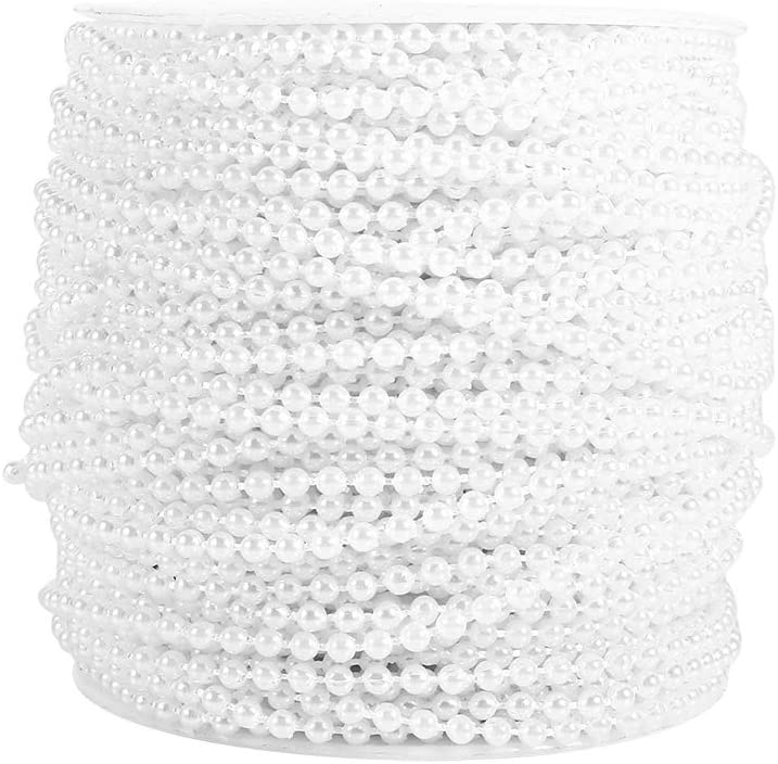 YINUODAY 55Yards Pearl Bead String, 3mm Faux Pearls Garland Trim by The Roll for Jewery Accessory DIY Crafts Party Wedding Decoration Ivory