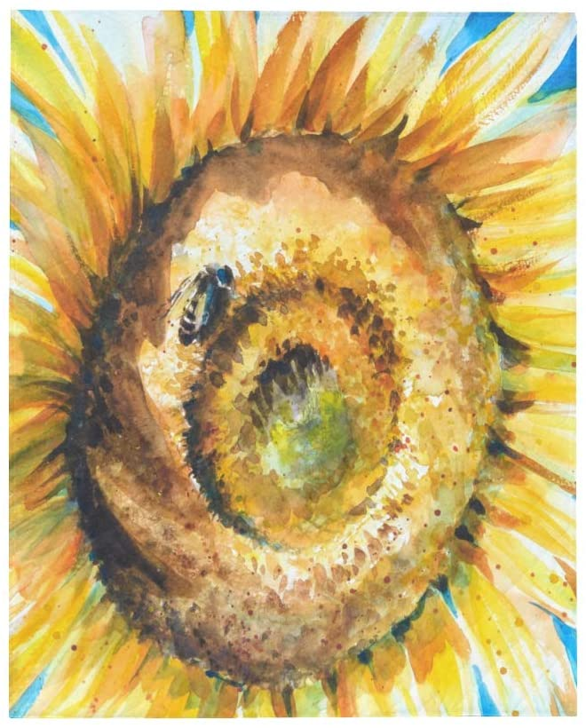 InterestPrint Watercolor Bright Golden Sunflower with Honey Bee Painting Soft Lightweight Quilt Blanket Summer Spring Autumn Coverlet Quilt for Men, Women, Kids, Twin Size 70 x 80 Inches