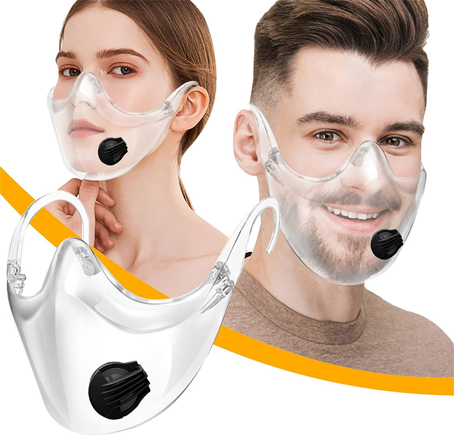 Durable Clear Face_Mask Combine Plastic Reusable Washable Face Covering Visible Expression Glasses Shield with Breathing Filter for Women Men (A)