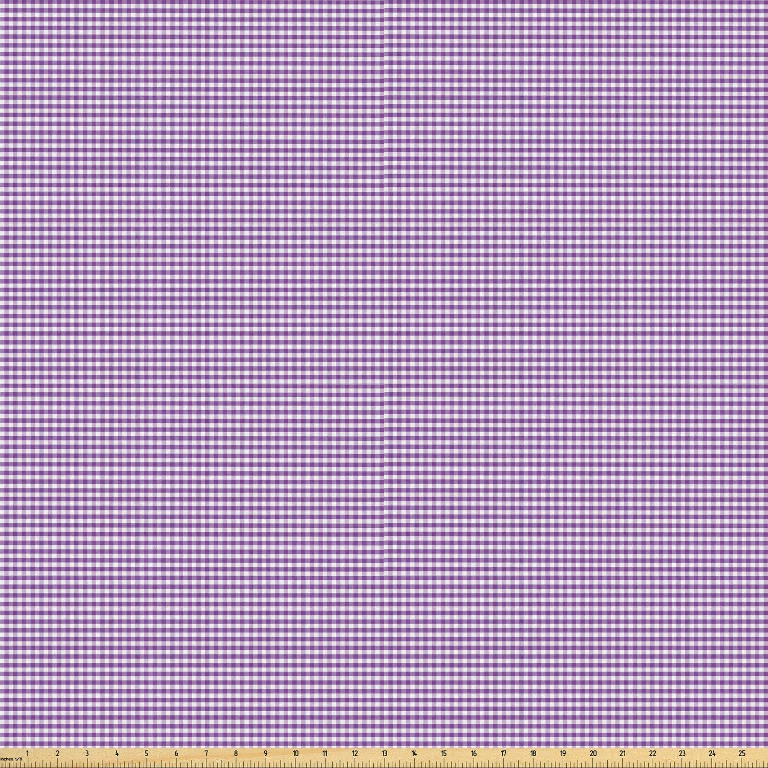 Ambesonne Checkered Fabric by The Yard, Purple and White Colored Gingham Checks Rows Picnic Theme Vintage Style Print, Stretch Knit Fabric for Clothing Sewing and Arts Crafts, 5 Yards, Purple White