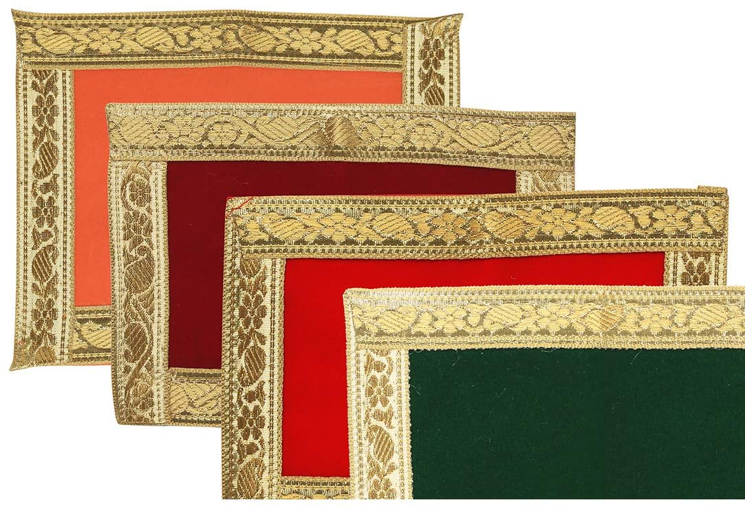 Small Pooja Mat Aasan Puja Aasan Decorative Cloth Set of 4 (Size:-9.5 Inches X 7 Inches,) for Multipurpose Pooja Decorations Item & Article Ganesh
