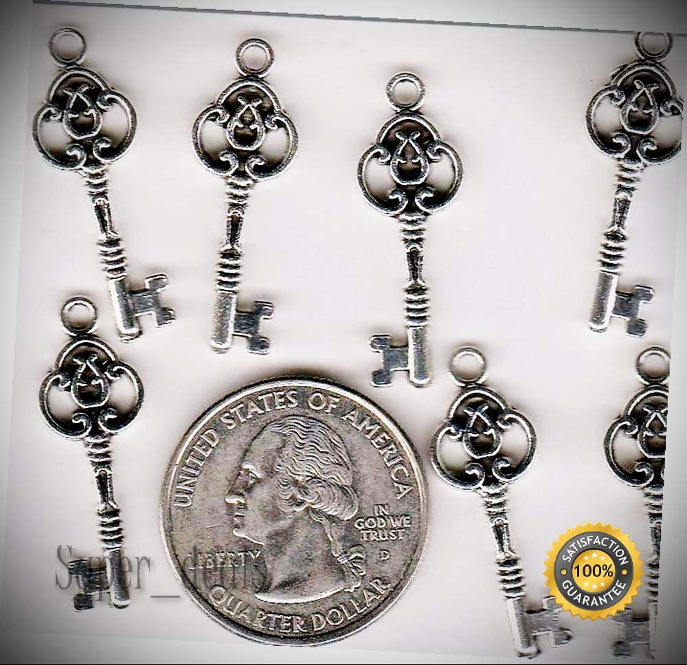 25 Silver Tone Metal Skeleton Key Charms, from - A 6 - Necklace Bracelet Accessories Charm