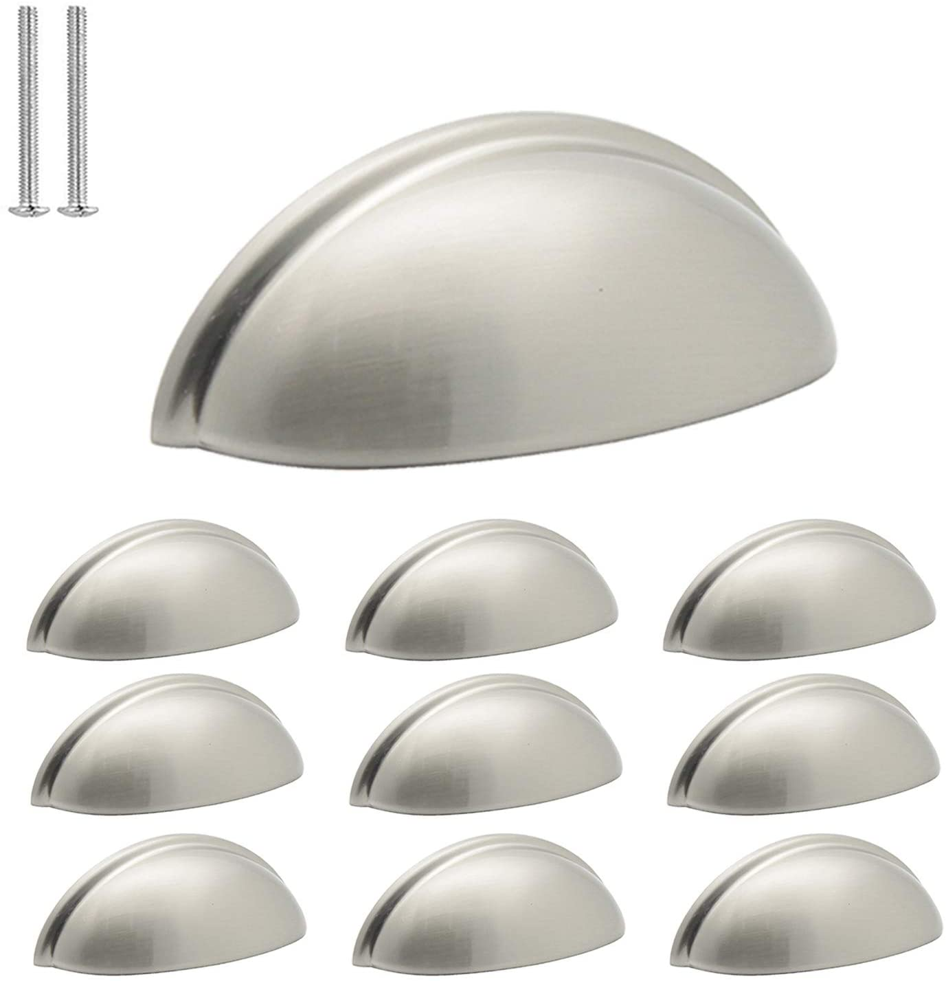 (10 Pack) Probrico Satin Nickel Drawer Handles Cabinet Cup Pulls 3 Inch Hole Center Kitchen Cabinet Hardware Bin Cup Cabinet Handles Modern Dresser Closet Handles Knobs