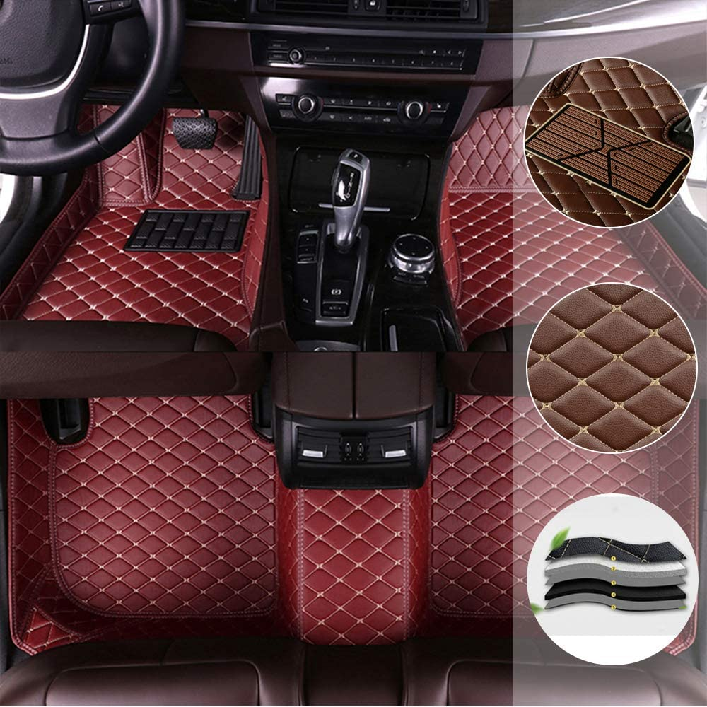 saitake Car Floor Mat for Lexus is-C 2009-2011 All Full Coverage Liner All Weather Waterpoof Non-Slip Leather Heavy Duty Custom Front Rear Mat Left Drive Wine Red