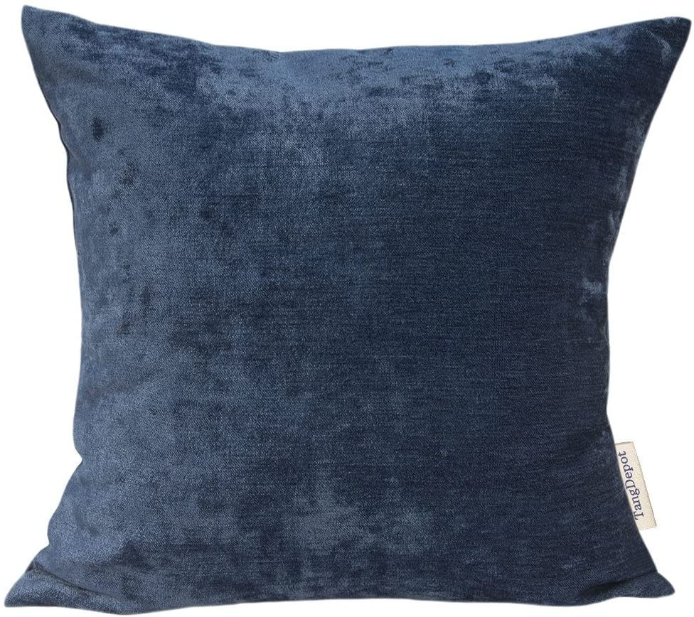 TangDepot Handmade Solid Chenille Decorative Throw Pillow Covers, Euro Pillow Shams, European Throw Pillow Covers, Indoor/Outdoor Cushion Covers - (24