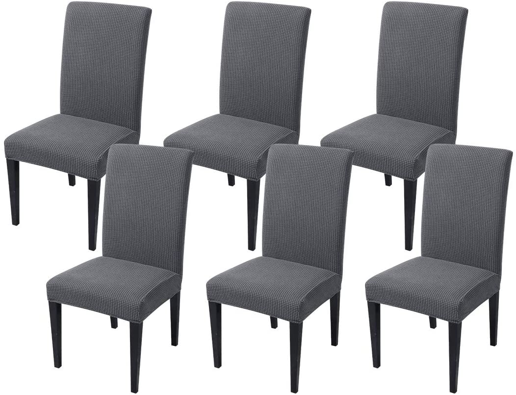 JQinHome 6 Pcs Jacquard Knitted Dining Chair Slipcover Parsons Chair Covers,High Stretch Removable Washable Chair Seat Protector Cover for Home Party Hotel Wedding Ceremony(Set of 6,Dark Grey)
