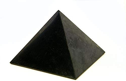 Polished Shungite Pyramid Russia 90 mm (3,54 inches) Healing Crystal Pyramid Stone Gemstone