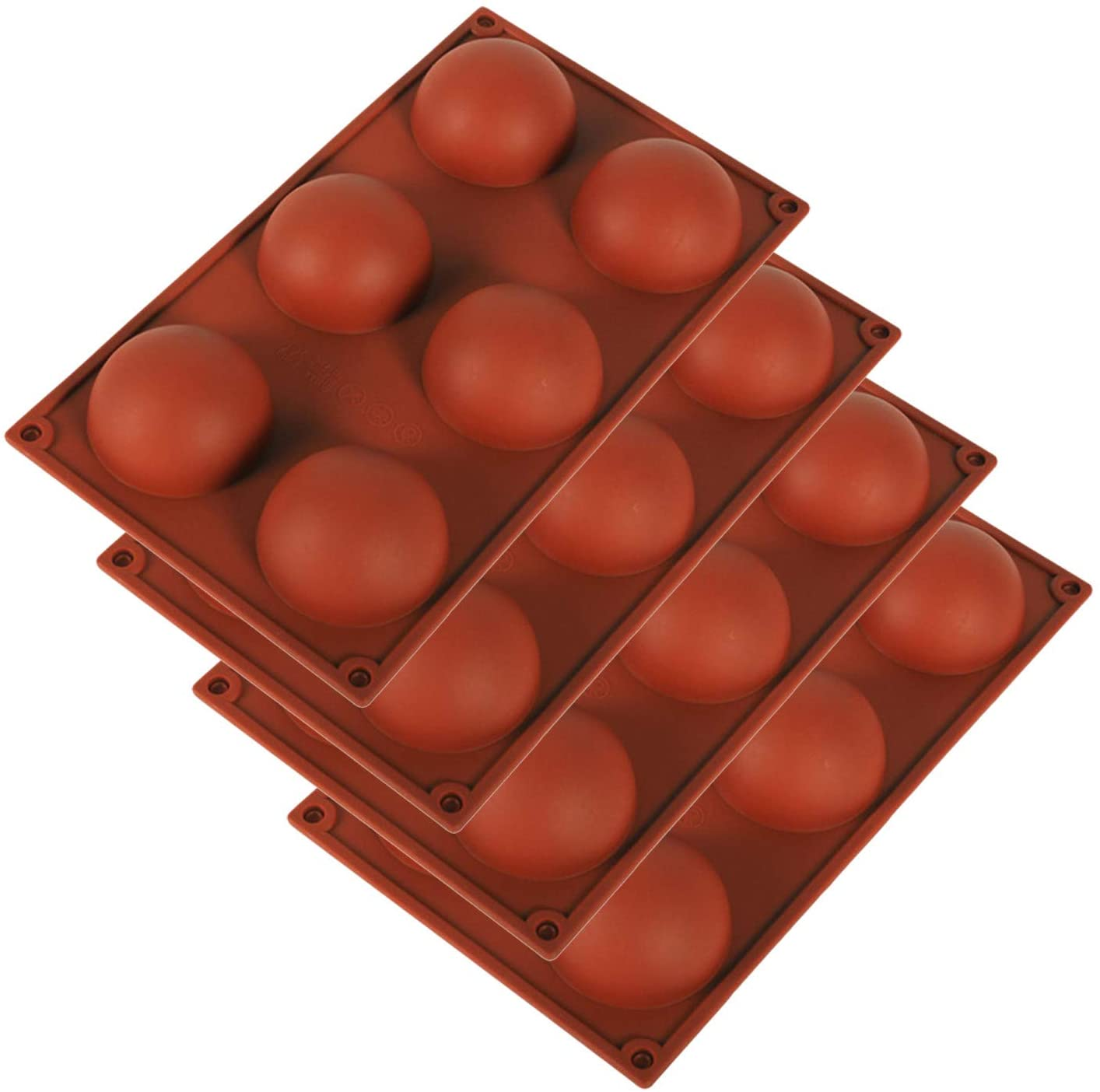4PC Food Grade Silicone Half Large Ball Mold for DIY Chocolate Cupcake Cake Muffin Baking Non Stick Mold,(NVL-5)