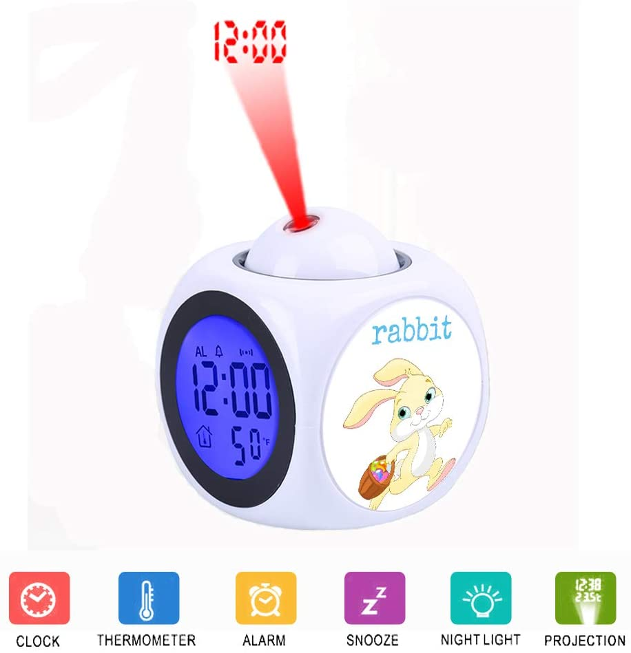 JLHEB Projection White Alarm Clock Digital LCD Display Voice Talking Table Clocks Temperature Snooze Function Desk Easter Yellow Cute Rabbit