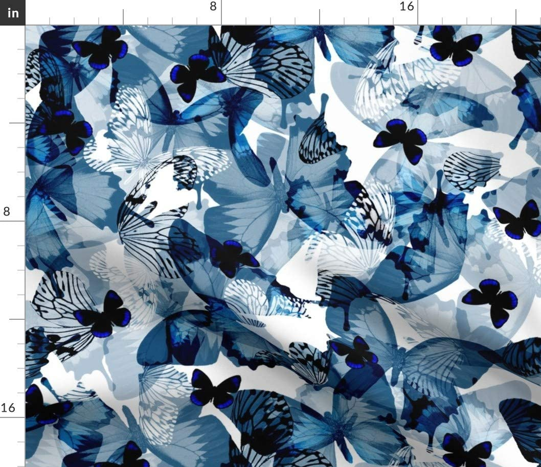 Spoonflower Fabric - Butterflies Blue Butterfly White Black Royal Nature Insects Indigo Printed on Cotton Poplin Fabric by The Yard - Sewing Shirting Quilting Dresses Apparel Crafts