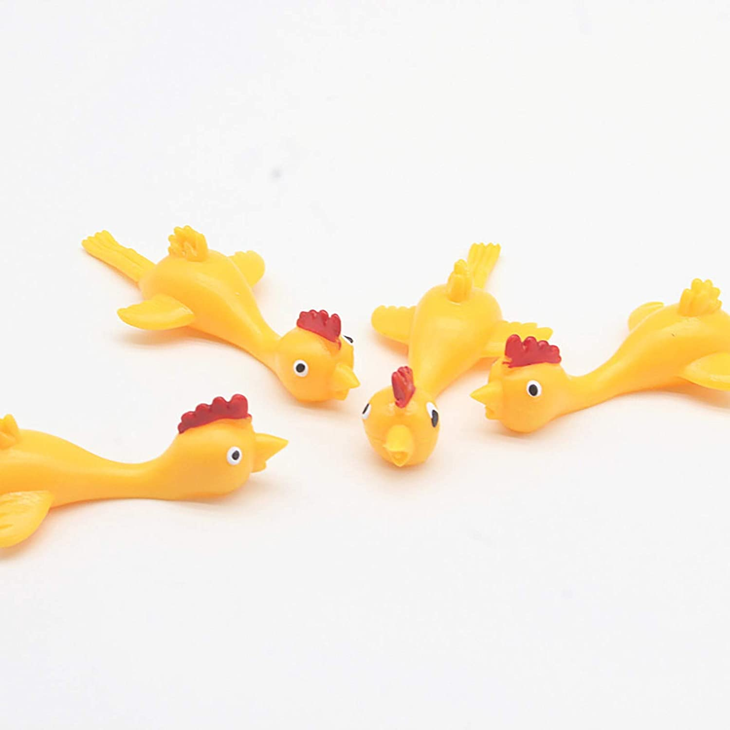 Creative Ejection Chicken Toy-Light Rubber Finger Slingshots for Party Favors and Supplies,Christmas Toy for Children,Stress and Anxiety Reliever, Sensory Toy (6pc)