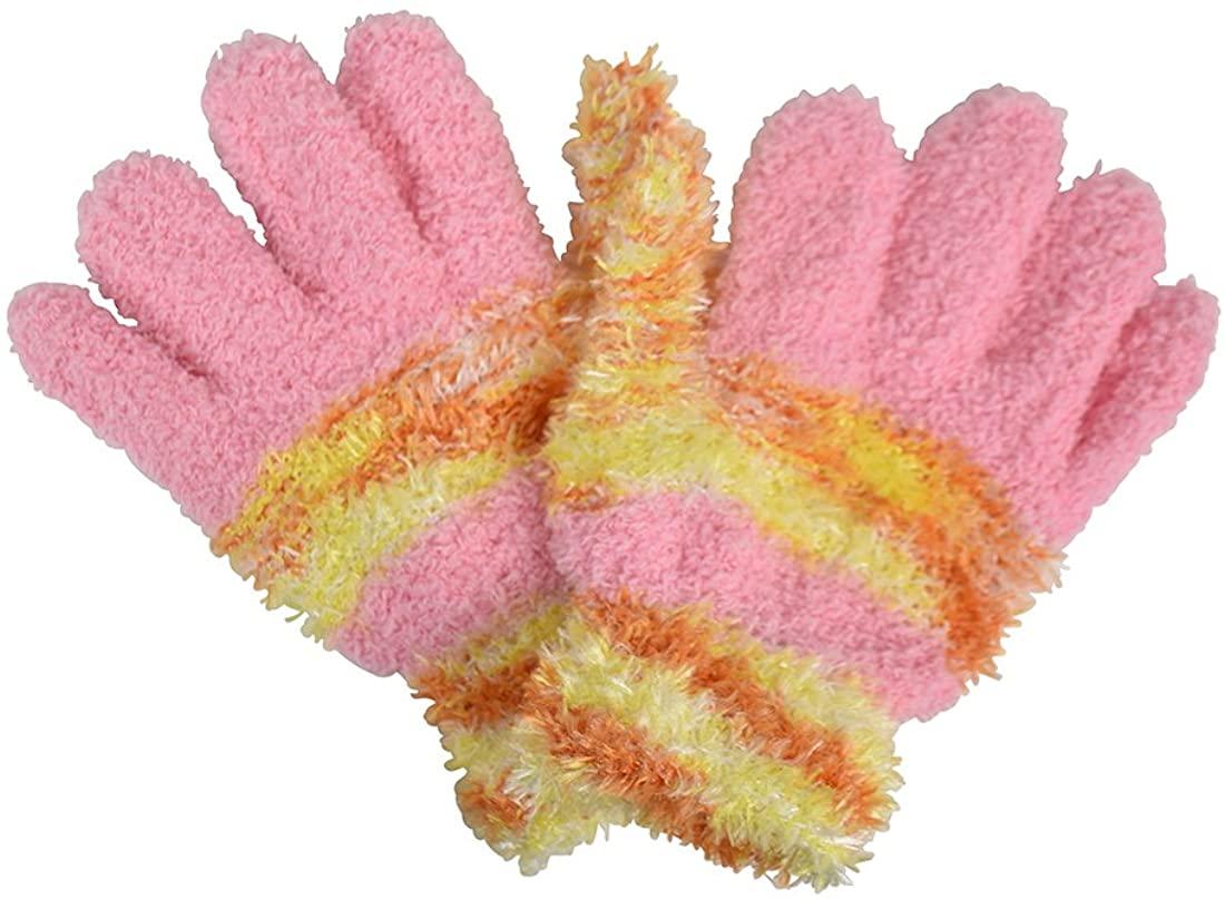 Chenille with Tie Dye Stripes Kids Gloves