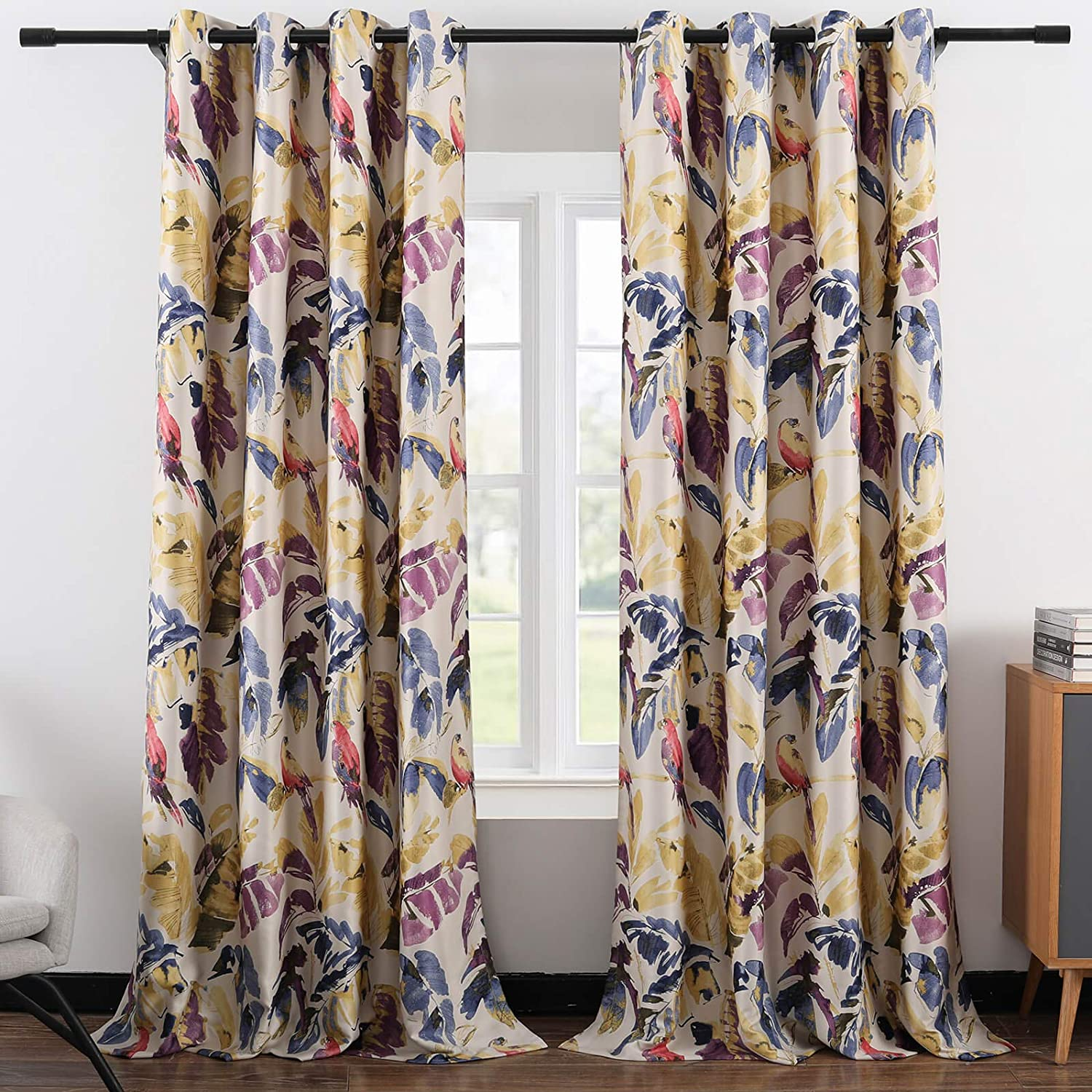 Leeva Blackout Curtains for Sliding Door, Abstract Print Plant Pattern Grommet Full Room Darkening Linen Window Drapes for Studio Office, 2 Panels, Purple and Yellow, 52x84