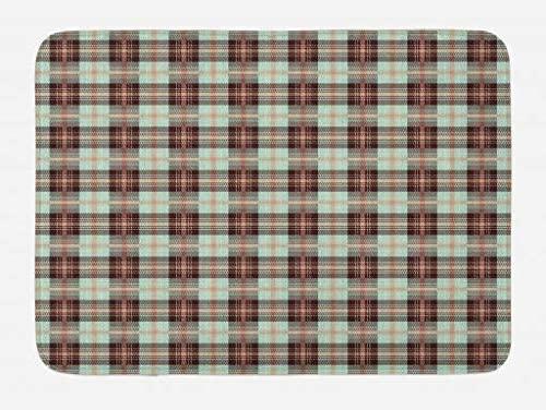 Lunarable Plaid Bath Mat, Traditional European Tartan Lines with Checkered Stripes Scottish Design, Plush Bathroom Decor Mat with Non Slip Backing, 29.5