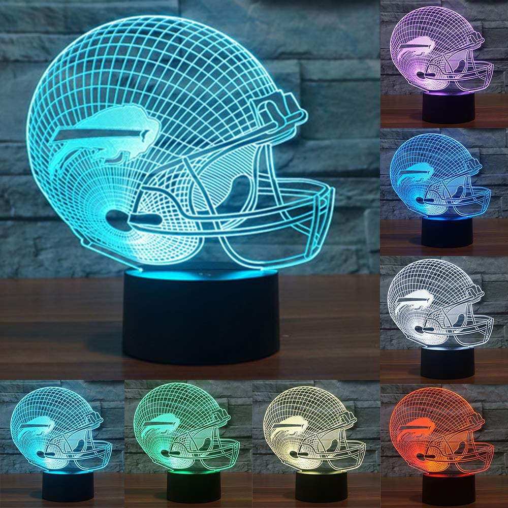 Football Cap Team Logo 3D Lamp Table NightLight 7 Color Change Football LED Desk Light Touch Multicolored USB Power As Home Decoration Lights Tractor for Boys Kids (Touch) (Buffalo Bills)