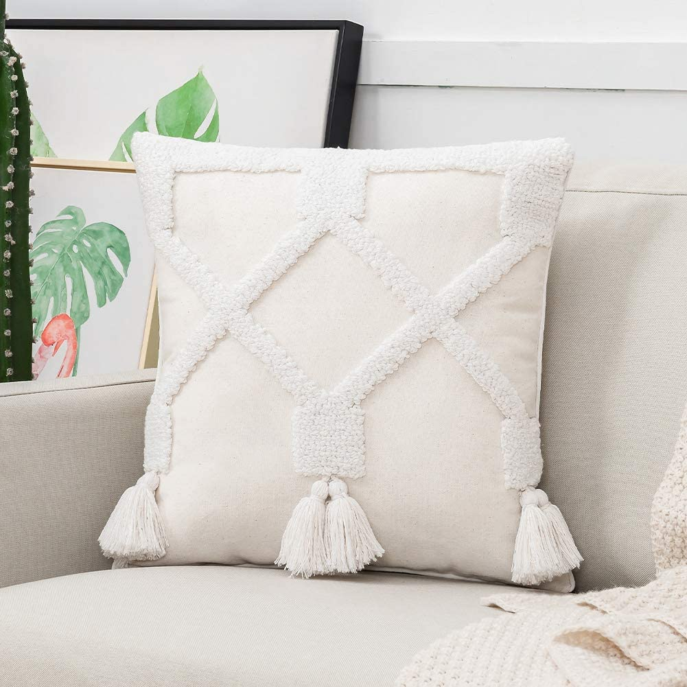 Boho Tassel White Textured Decorative Throw Pillow Cover Outdoor for Couch Sofa Bedroom Living Room, 18X18 Inch Square Accent Pillow Case Minimalist Geometric Bohemian Tufted Natural Linen
