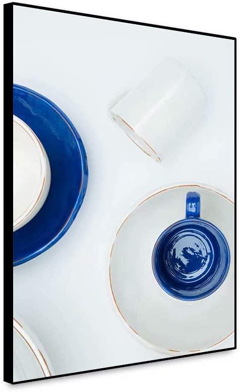 shensu Framed Canvas Wall Art Elegant Kitchen Posters White Blue Porcelain Tableware Artwork Prints White Background Wall Decor for Modern Dining Room Cafe Bar Restaurant Hall Home Decor 12x18inch