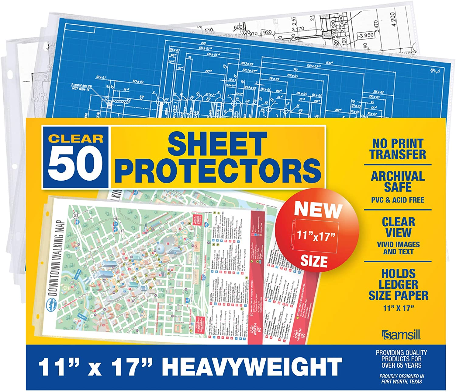 Samsill 50 Pack 11x17 Sheet Protectors, Poster Protector, Ledger Size Sheet Protectors for Document, Side Loading, Heavyweight, and Archival Safe
