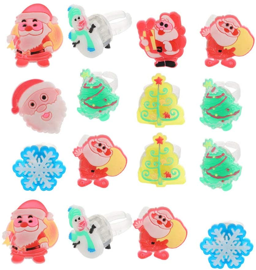 NUOBESTY Christmas LED Rings Flashing Luminous Finger Rings for Kids Adults Party Favors, 72 Pieces (Mixed Style)