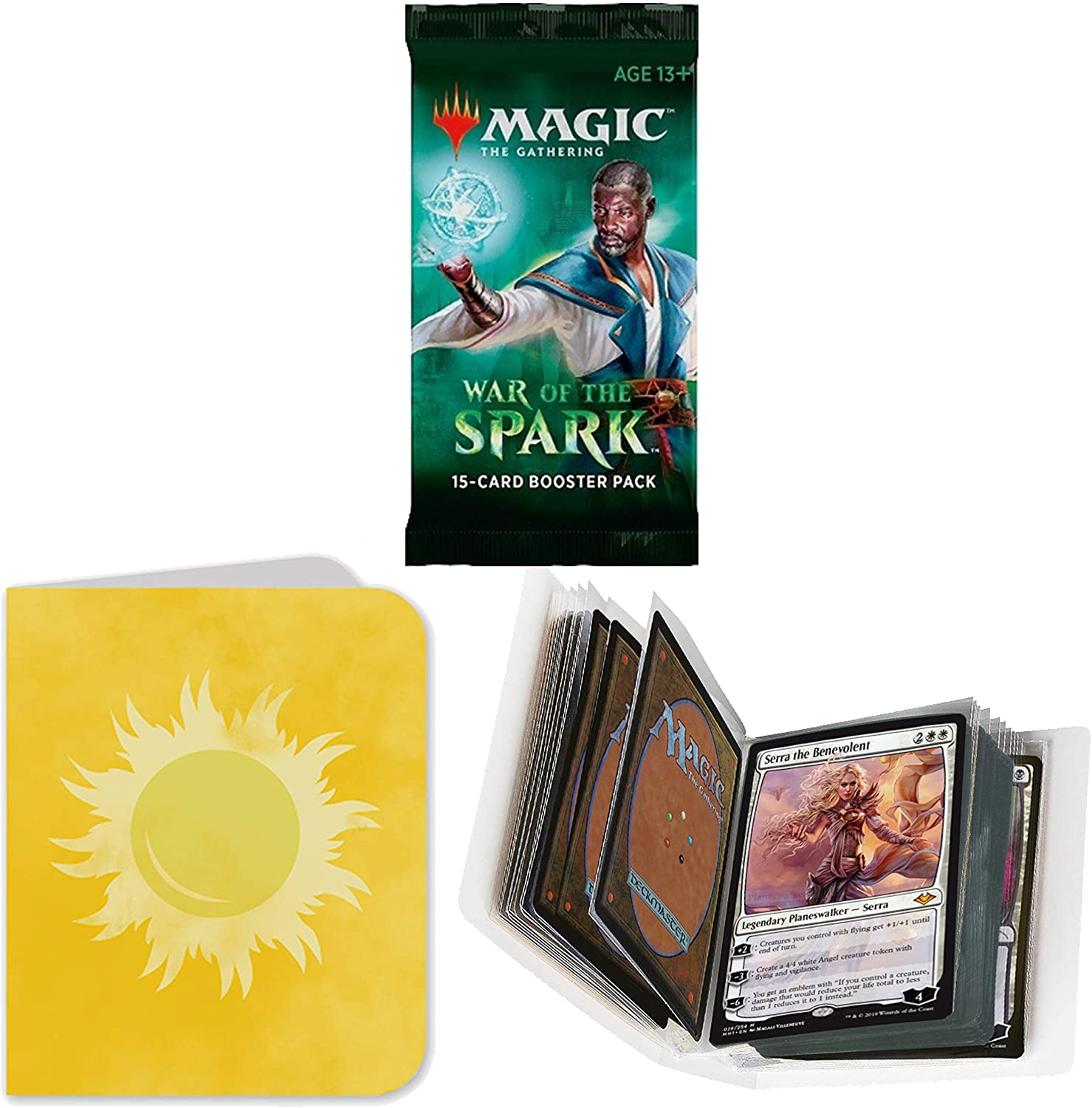 Totem World 1 Booster Pack of Magic The Gathering War of The Spark with a Totem Plains Mana Symbol Mini Binder Collectors Album - One Pack for Booster Draft Lot Bundle