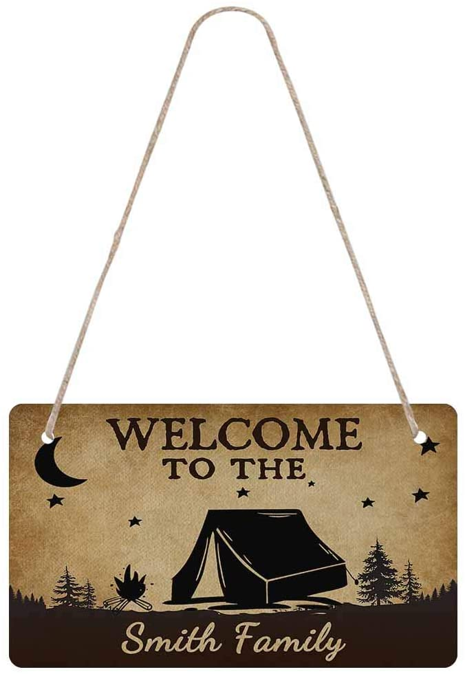 InterestPrint Custom Door Hanging Sign for Your Family, Welcome to The Camper with Your Name Wooden Boards are Hung on The Door or Wall with Rope Personalized Designed for Home Decoration