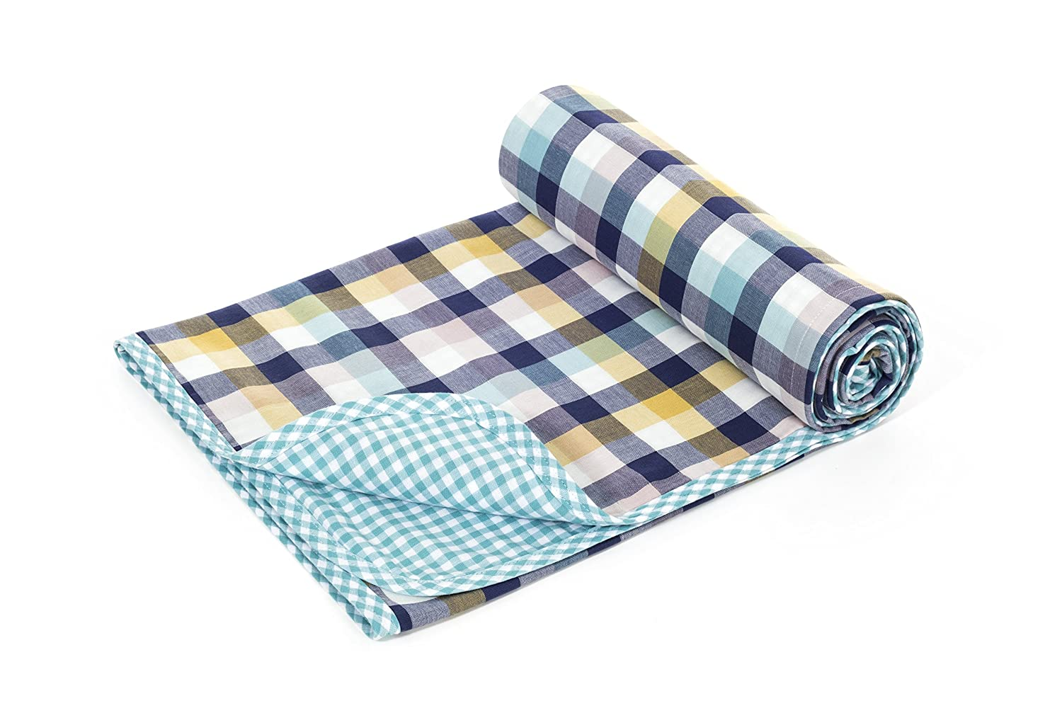Henry and BROS. Large Double Layer Toddler Blanket, Girl Nap Blanket/Boy Nap Blanket, Light Blanket for Kids, Kids Blanket Patterns Made of 100% Cotton (Classic Check)