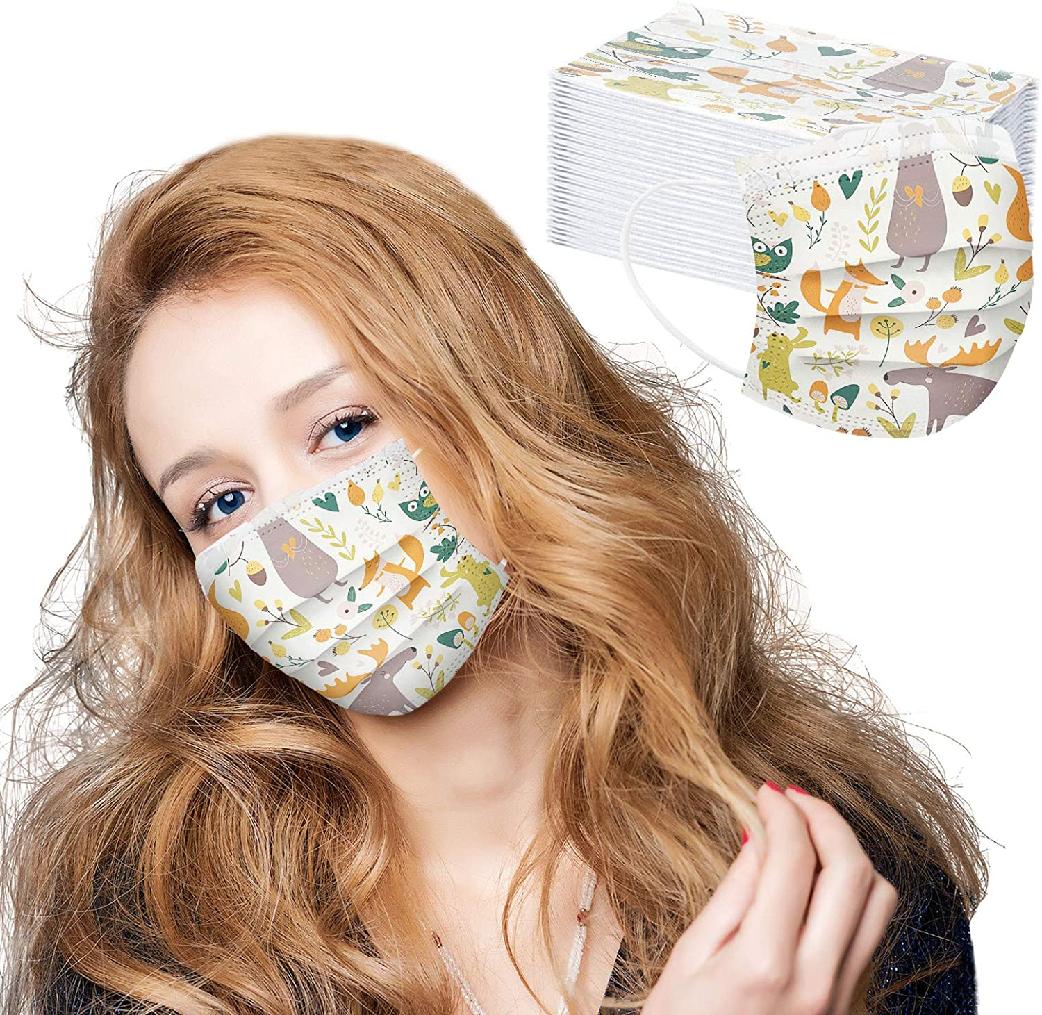 Christmas Face_Mask, Meigeanfang 50PC Unisex Tie-dye Gradient Printed Three-Layer Dust-Proof Face Protection