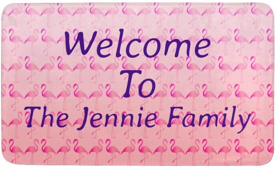 CUXWEOT Custom Doormat Personalized Pink Flamingo Mud Door Mat with Name Decorative Entry Rug Garden Kitchen Mats 23.6 x15.7 Inch