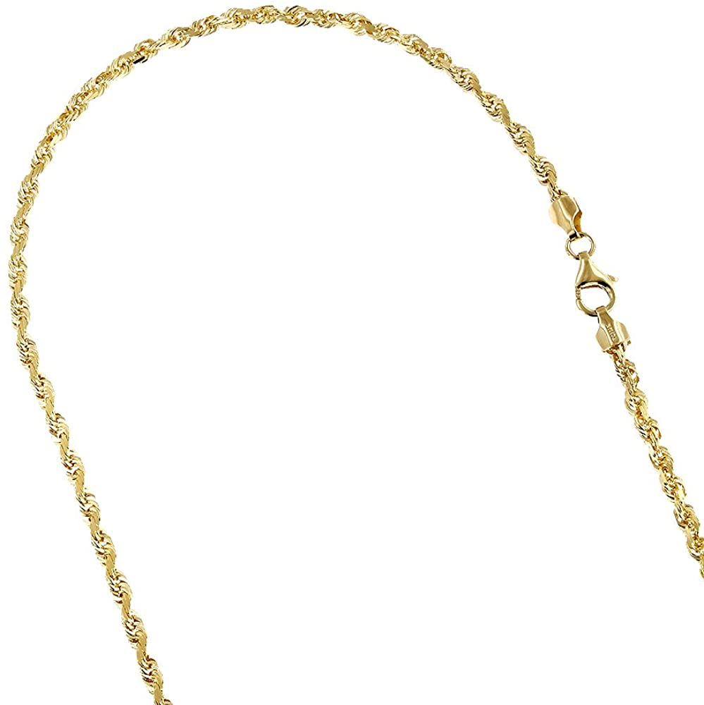 IcedTime LUXURMAN Solid 10K Yellow Gold 2.5mm Wide Rope Chain Diamond Cut Necklace, Bracelet or with Lobster Clasp
