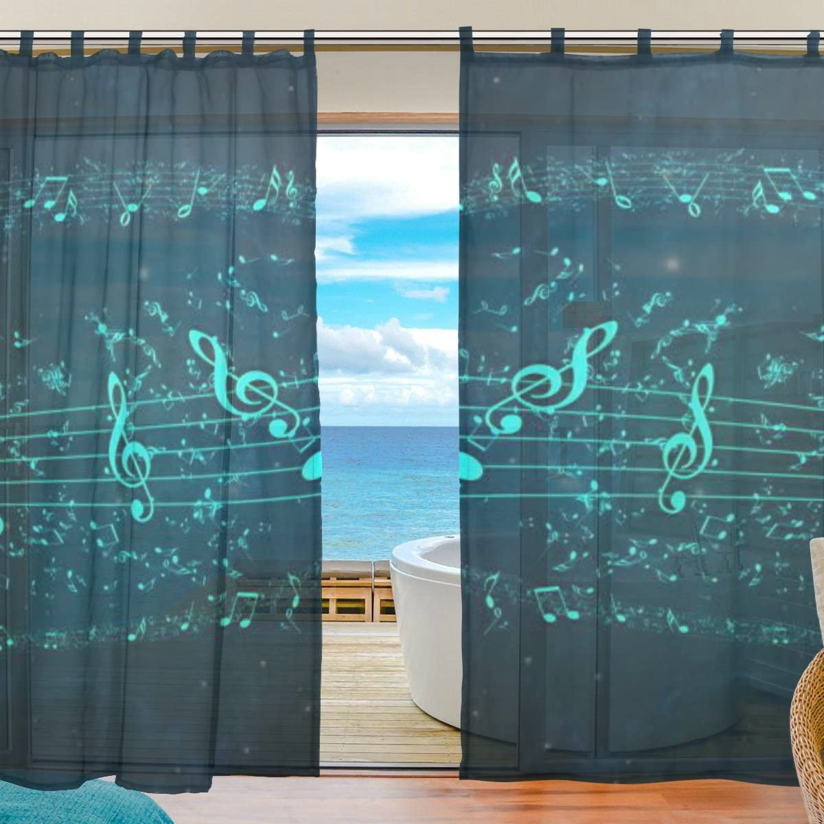 JSTEL Bedroom Decor Living Room Decorations Colorful Music E2 Pattern Print Tulle Polyester Door Window Gauze Sheer Curtain Drape Two Panels Set 55x78 inch,Set of 2