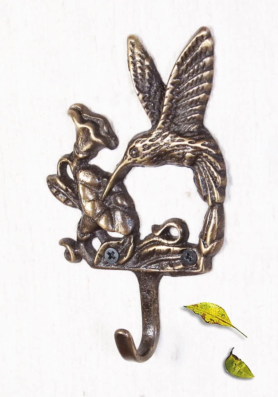Decorative Brass Hummingbird Wall Hook - Set of 5 Pieces