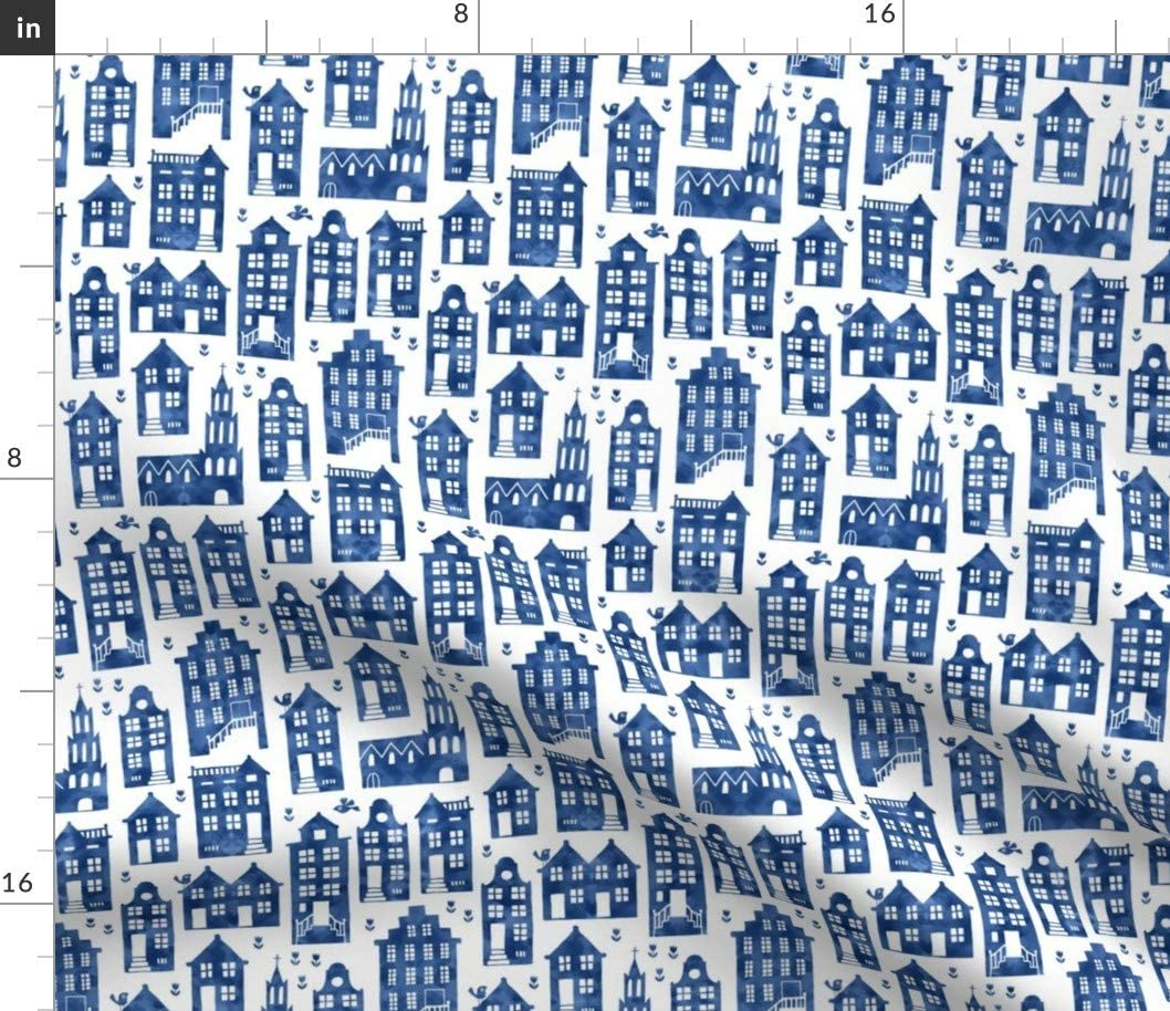 Spoonflower Fabric - Royal Delft Blue Watercolors Small City House Travel Cobalt Printed on Cotton Poplin Fabric by The Yard - Sewing Shirting Quilting Dresses Apparel Crafts