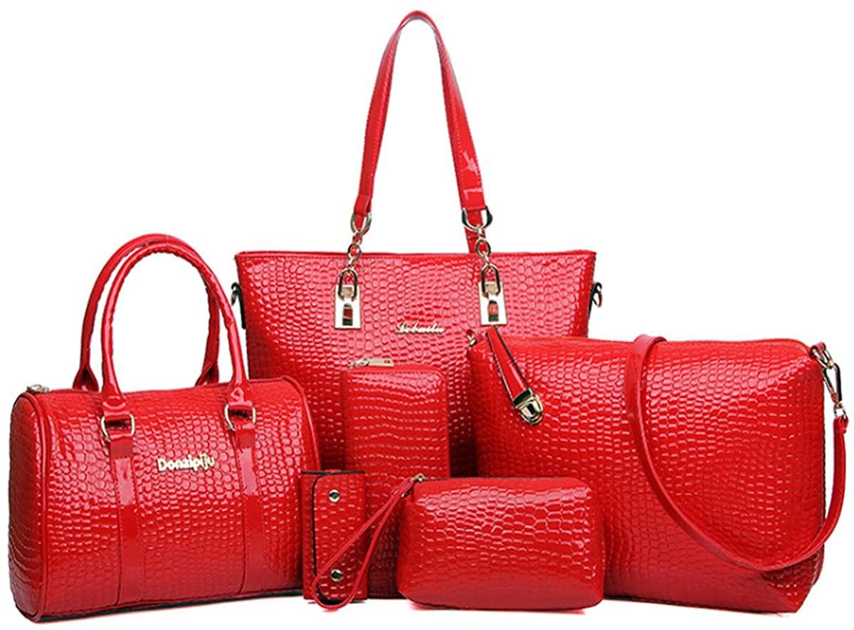 Womens 6 Pcs Handbag Set Clutch Top Handle Totes Satchels Crossbody Bag Wallet