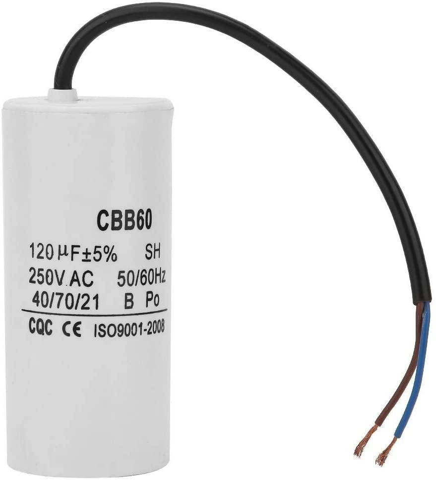 Aeloa Run Round Capacitor, CBB60 Run Capacitor with Wire Lead 250V AC 120uF for Motor Air Compressor (White)