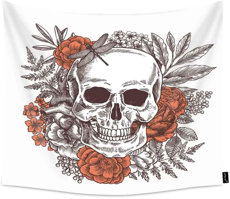 oFloral Skull and Flowers Wall Tapestry Dragonfly On The Skull, Tropical Plants, Summer Home Decorations for Men Bedroom Dorm Decor 51x60 Inches