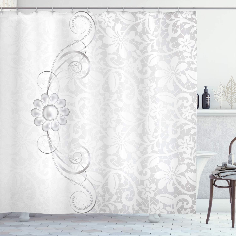 Ambesonne Grey Shower Curtain, Lace Inspired Flourish Motifs Background with Bridal Flower Border Wedding Pattern, Cloth Fabric Bathroom Decor Set with Hooks, 84