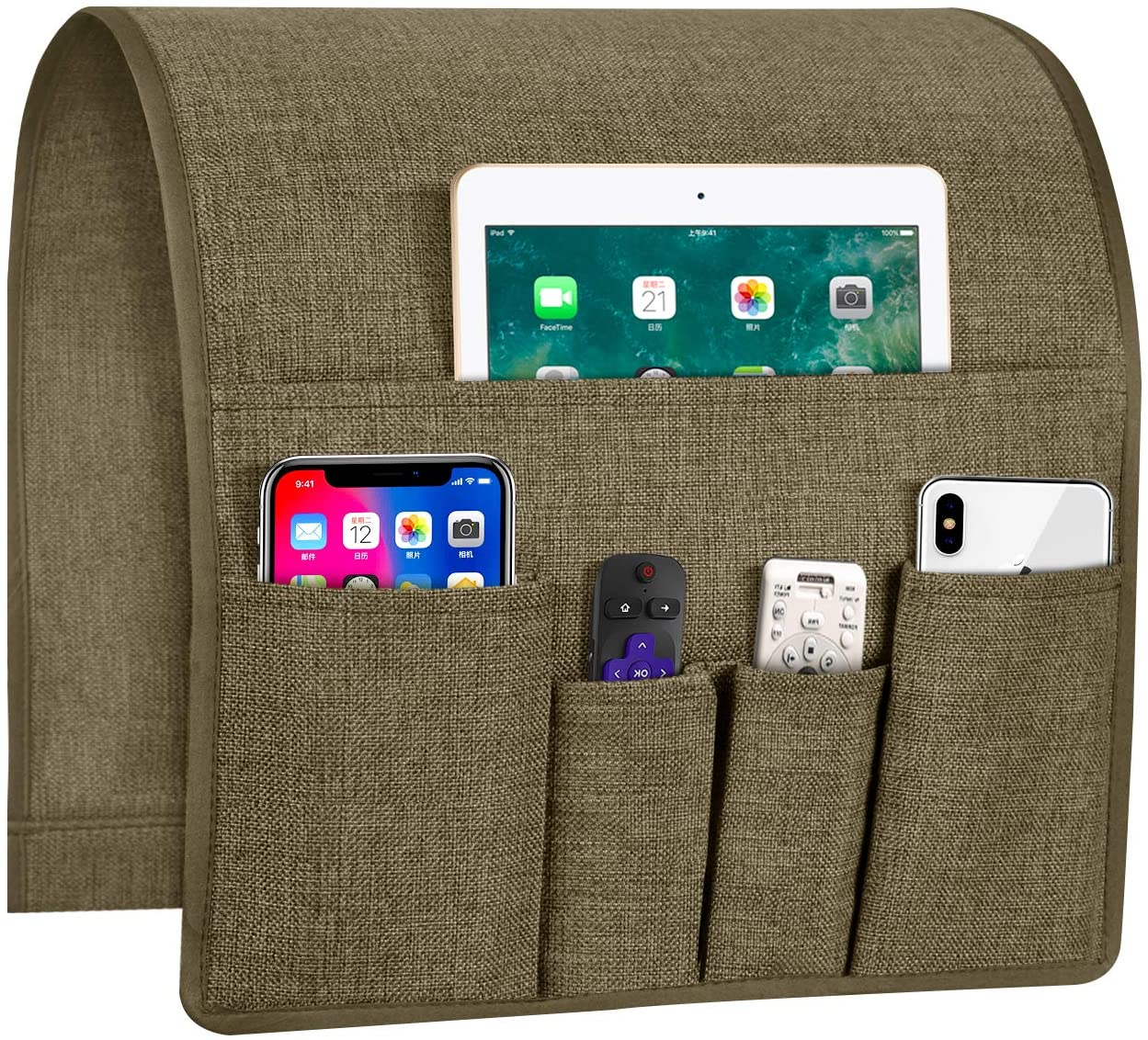 Joywell Sofa Armrest Organizer, Remote Control Holder for Recliner Couch, Arm Chair Caddy with 5 Pockets for Magazine, Tablet, Phone, iPad, Light Chocolate