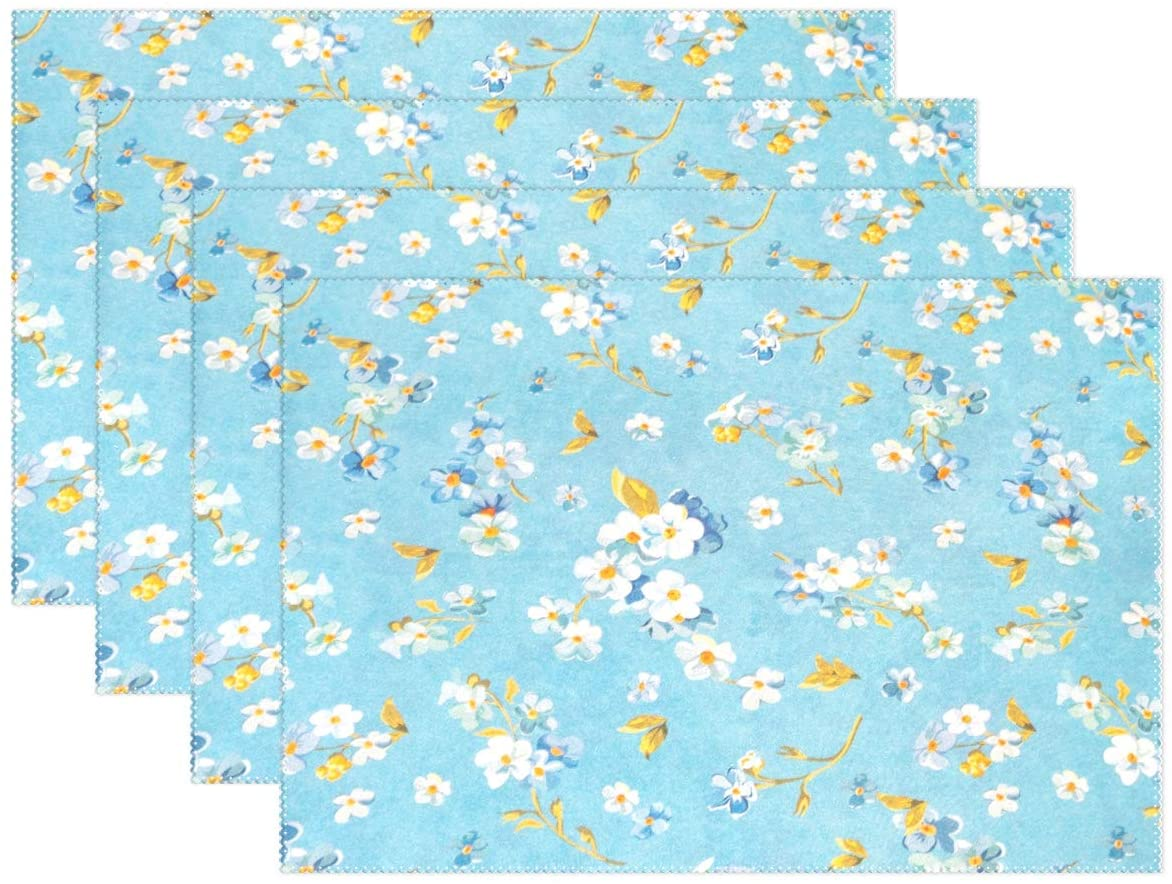 UNISE White Flowers Blue Background Placemats Heat Insulation Non-Slip Washable Lunching Mat 12'' X 18'' Set of 4 Rectangle Plate Pads for Kitchen Dining Table Restaurant Party