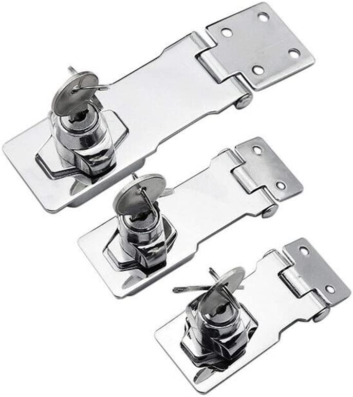 Padlock Locking Hasp Staple Safety Door Clasp Gate Lock Stainless Steel Door Cabinet Swivel Clasp(4 inch Right Angle)