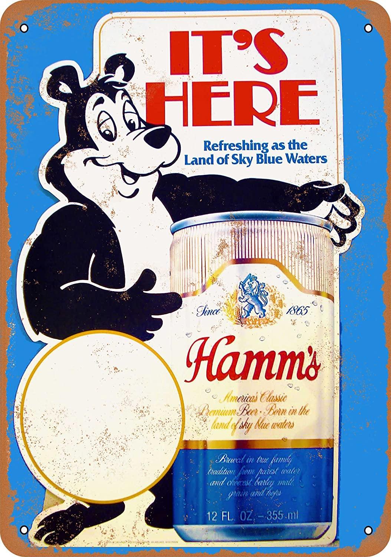 Wall-Color 7 x 10 Metal Sign - Hamm's Beer Bear - Vintage Look