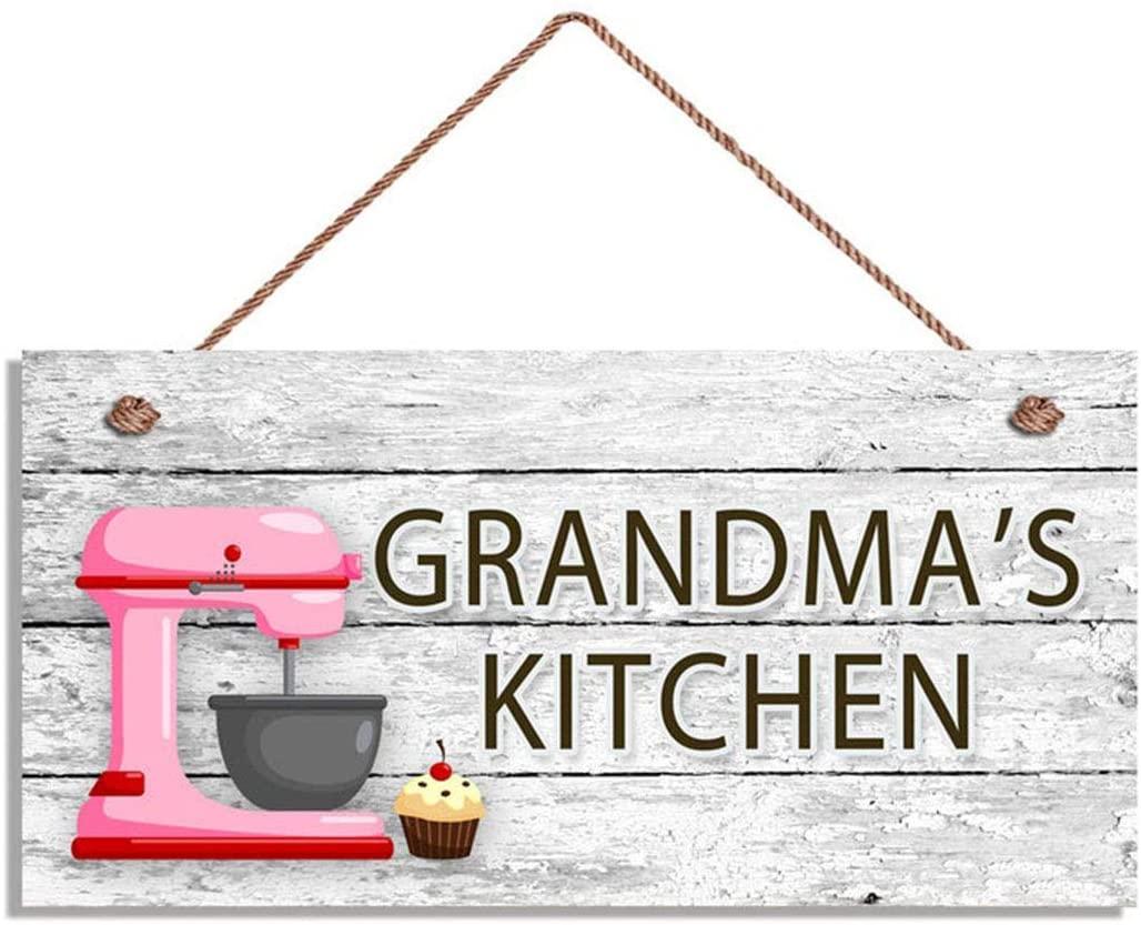 WEIMEILD Grandma's Kitchen Sign, Pink Mixer and Cupcake Wall Art, Gift for Grandma, 5
