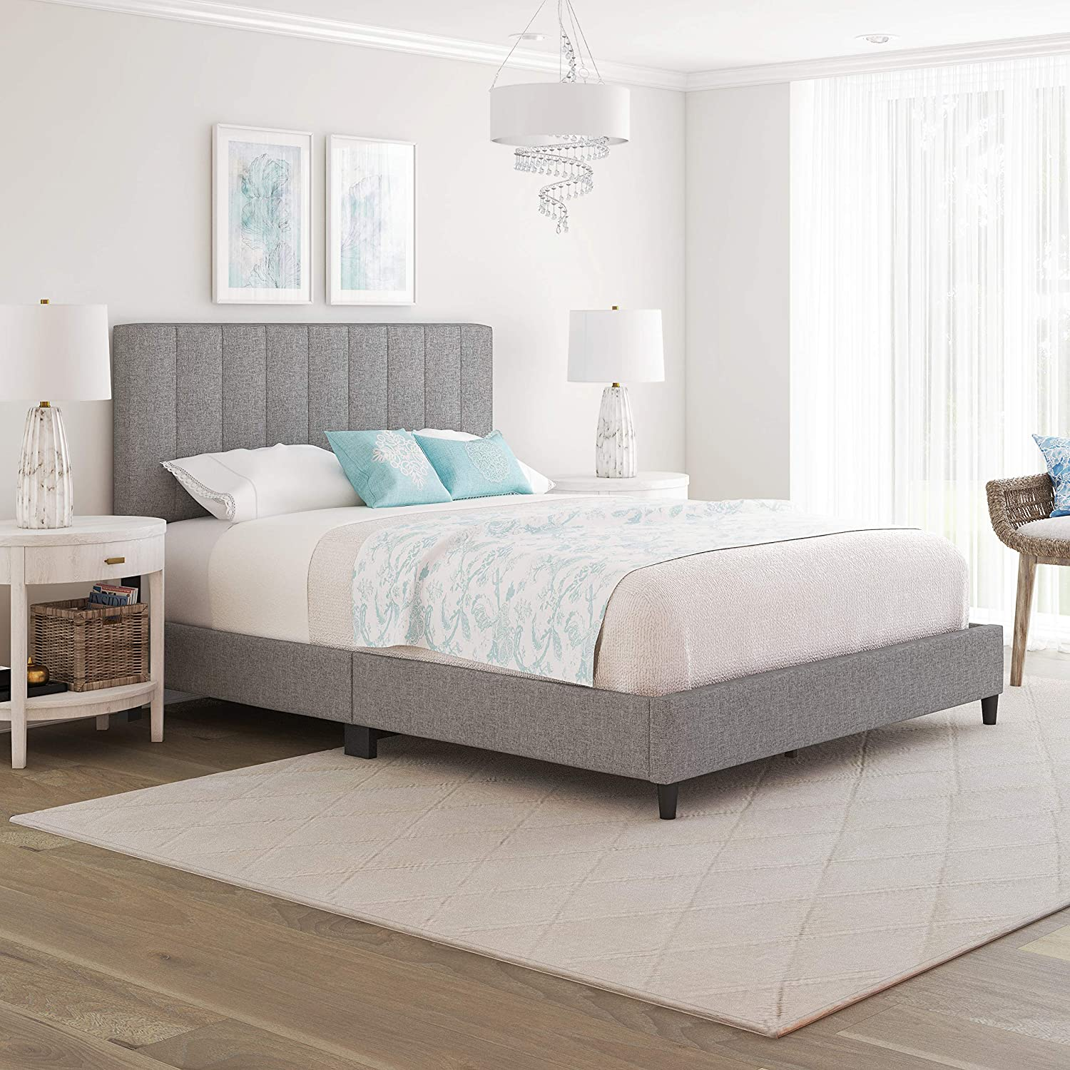 Boyd Sleep Leah Upholstered Vertical Tufted Platform Bed Frame Mattress Foundation with Headboard and Strong Wood Slat Supports: Linen, Grey, Full (LHGR971DB)