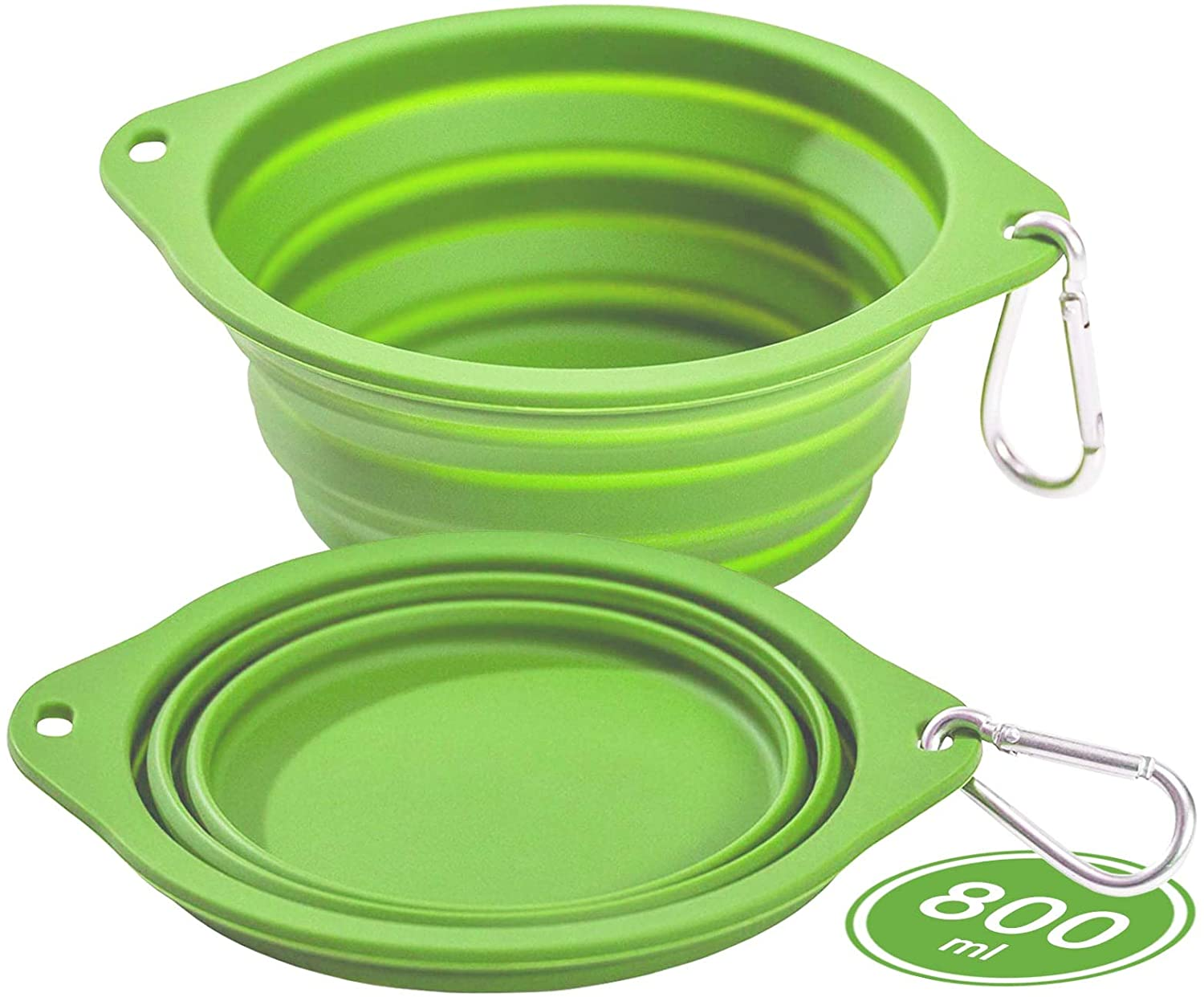 CFMOUR Collapsible Dog Bowls for Travel, 2-Pack 800ml Portable Dog Water Bowl, Silicone Foldable Pet Feeding Watering Dish for Camping Hiking Traveling, Green