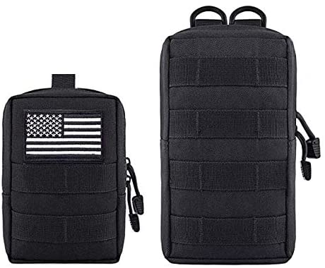 Antrix 2 Pack Compact Molle Pouches, Tactical Admin Pouch, Utility EDC Pouch Military Multi-Purpose Waist Bag Pouch,Backpack Molle Attachments Patch Pouch - Durable Nylon,Waterproof Organizer Pouch